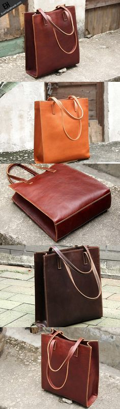 Handmade vintage rustic leather normal tote bag shoulder bag handbag for women