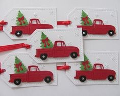 Christmas Red Truck, Christmas Favors, Christmas Gift Wrapping, Christmas Tag, Handmade Gift Tags, Handmade Christmas Gifts, Handmade Greetings, Greeting Cards Handmade, Holiday Gift Tags