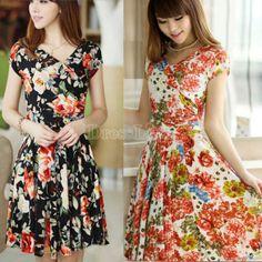 Fashion Deep V Collar Floral Printing Lady Short Sleeve Dress