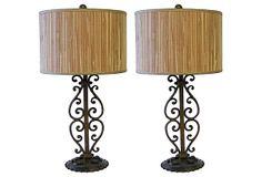 19th-C. Iron Scroll Lamps, Pair on OneKingsLane.com