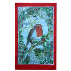 Vintage Christmas Robin Red Breast Cotton Tea Towel by Retro68, £10.75