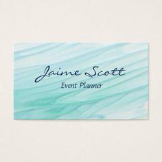 aqua watercolor business card