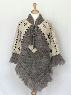 Poncho gris y manteca. Poncho - Natural (I'm thinking grannie squares along the shoulder instead of white knits - ?) Items are sold at storesBilledresultat for ponchos clothingPoncho - Natural --idea only no patternCould crochet this, make four equal Mode Crochet, Poncho Knitting Patterns, Crochet Poncho Patterns, Knitted Poncho, Crochet Scarves, Crochet Shawl, Knitting Designs, Crochet Clothes, Baby Knitting