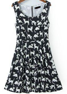 robe zippée sans manche motif chats EUR€17.50