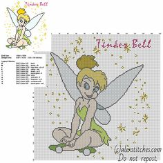 Disney Fairy Tinker Bell Tink free cross stitch pattern big size about 150 stitches