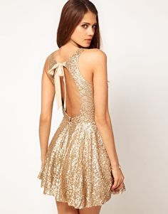 Enlarge TFNC Sequin Dress with Open Back & Full Layered Prom Skirt-asos