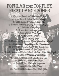 One List Of The Top 20 Couple First Dance Songs 2012 Facebook