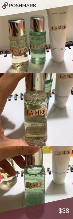 La Mer skin care set new travel 1 oz each Body lotion, cleanser, tonic, eye concentrate 0.1 oz ! New La Mer Accessories