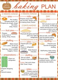 Prepare your Thanksgiving dinner on time and in advance with this baking plan. K… Prepare your Thanksgiving dinner on time and in advance with this baking plan. Know when to make and bake your dishes and pies. Freeze them ahead… Continue Reading → Hosting Thanksgiving, Thanksgiving Traditions, Thanksgiving Parties, Thanksgiving Appetizers, Thanksgiving Recipes, Holiday Recipes, Thanksgiving Turkey, Traditional Thanksgiving Food List, Thanksgiving Decorations