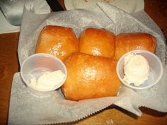 Texas Road House Rolls  3 c. all-purpose flour  2 (1/4 oz. each) packages active dry yeast  1 tsp salt  2 T. sugar  1 c. milk + 1/4 c. water, warmed  1 large egg slightly beaten  1/4 c. butter + 2 T butter, melted  Cinnamon Butter  1 stick butter  4 tsp. cinnamon  1/4 c. brown sugar  1/4 c. white sugar