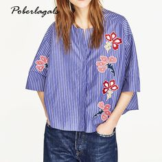 Summer 2017 New Women Fashion Blue Flowers Embroidered stripe Blouses Casual Loose Tops femme blusas shirts blouse womens