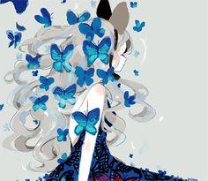 Imagen de anime girl and butterfly