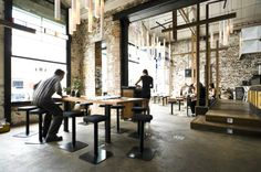 Auction Rooms, North Melbourne. Another warehouse style cafe with modern flair. Beautiful.