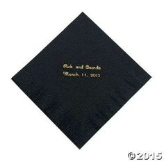 Black Personalized Luncheon Napkins with Gold Print - Oriental Trading