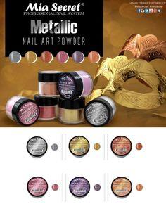 6 PC Mia Secret Acrylic METALLIC Nail Art Powder Collection MADE USA FREE GLOBAL #MiaSecret