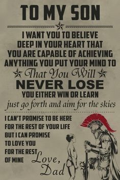 To My Son English Warrior Poster is part of Dad quotes - Product Details Material High Quality Canvas Ink Waterproof Ink Technics Spray Painting Frame No Frame Father Son Quotes, Dad Quotes, Wisdom Quotes, True Quotes, Great Quotes, Motivational Quotes, Inspirational Quotes, The Words, Military Quotes
