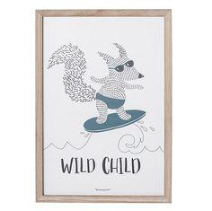 "11-3/4""L x 19-1/2""H Wood Framed ""Wild Child"" Fox Wall Decor"