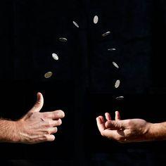 Coin flip superimposed picture