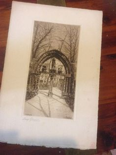 Etching French Artist Lucy Garnot Cluny IV by bellabooovintage
