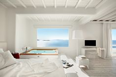 The Honeymoon Suite at the Cavo Tagoo in Mykonos. With an irresistible Jacuzzi tub and a private pool overlooking the infinite blue of the Aegean. www.mediteranique.com/hotels-greece/mykonos/cavo-tagoo/