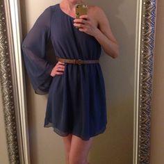 SALE Anthropologie Lush blue one shoulder dress One shoulder short dress with sheer sleeve and flirty swing skirt. Cornflower blue. Brown belt included. Lush brand. No trades Anthropologie Dresses One Shoulder