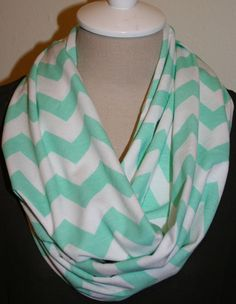 "Ice Green Chevron Infinity Scarf Mint Green on White Zig Zag Jersey knit Loop Scarf 9"" x 64"" L -New Color on Etsy, $15.99"