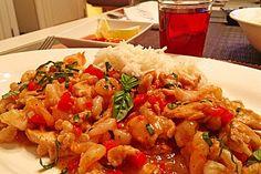 Garnelen - Hähnchen - Chili - Pfanne