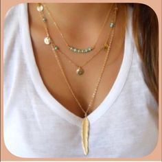 NWT Turquoise Gold Tone Triple Layered Necklace This is a very cool necklace! It is so shiny with turquoise beads and gold great her! The feather is about 1.5 inches! This is one of those little treasures! Boutique Jewelry Necklaces