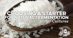 salt + 1/4 C (per qt) kombucha/previous brine solution Natural Fermentation: Salt vs. Whey vs. Starter Cultures