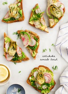 Roasted Artichoke Avocado Toast - Simple, springy avocado toast topped with radishes and dill. Vegan, Gluten free option.