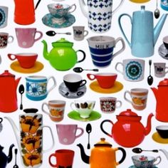 vintage tea & coffee pots gift wrap. just love vintage tea cups and pots.