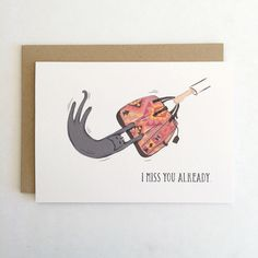 I Miss You Already // Funny Cat Love Travel Card // by Paper Pony Co. by ThePaperPonyCo on Etsy https://www.etsy.com/listing/247598267/i-miss-you-already-funny-cat-love-travel