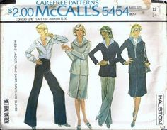 1977 McCalls 5454 Vintage Halston Designer Sewing Pattern. Misses' Jacket, Wrap Skirt, Pants And Blouse: Lined, buttoned jacket has collar and two piece sleeves. Lined, front wrap skirt has hooked