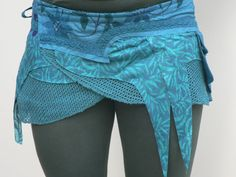 #pocketbelt Turquoise Elf Pixie Skirt, Psytrance Skirt, Indian Hippie Skirt, Wrap Skirt, Handmade