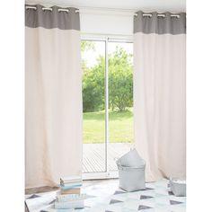 LADER fabric eyelet curtain in beige / grey 110 x 250cm