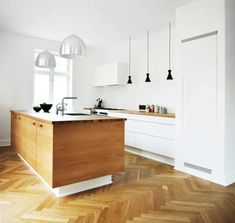 Have you been lusting after the gorgeous wood floors in beautiful old European buildings? Here's where to find your own. Kitchens Without Upper Cabinets, Kitchen Cabinets Height, Kitchen Shelves, Kitchen Units, New Kitchen, Kitchen Decor, Apartment Design, Apartment Therapy, Stock Cabinets
