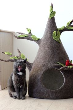 Cat tree, cat house, cat bed cave from natural wool. Gift for pet lovers, Cat Tree House, Cat Cave, Cat Room, Pet Furniture, Cheap Furniture, Cat Accessories, Pet Beds, Cool Cats, Dog Cat