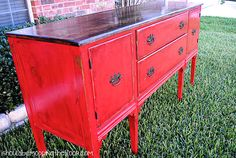i should be mopping the floor: Buffet Reveal: Distressing Painted Furniture with Stain