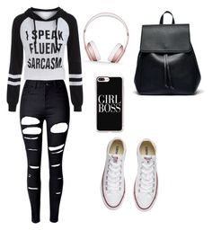 """""""school outfit"""" by anniecole26 ❤ liked on Polyvore featuring WithChic, Converse, Sole Society, Beats by Dr. Dre and Casetify"""