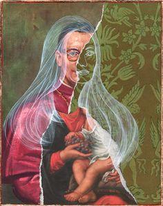woman and baby Collages, Collage Art, Canada Online, Mythology, Mixed Media, Illustration Art, Princess Zelda, Eyes, Figurative