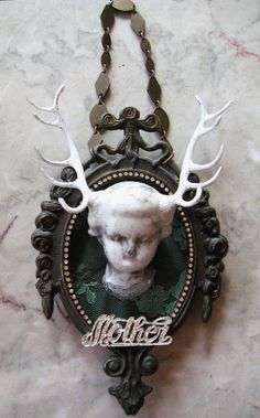 MOTHER DEAR antlered antique porcelain doll head by inthewillows, $43.00