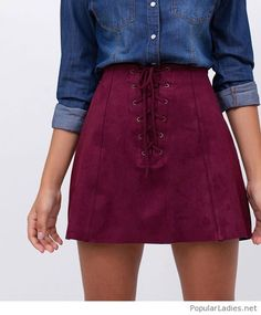 Denim shirt with purple skirt Stylish Formal Skirts for Women To Wear To Office Skirt Outfits, Casual Outfits, Cute Outfits, Fashion Outfits, Womens Fashion, 90s Fashion, Fashion Pics, Casual Dresses, Purple Skirt