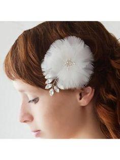 Luxurious Noble Diamond Pearl White Feathers Bride Wedding Headdress