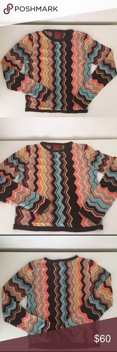 Missoni Colore Sweater Gorgeous and rare Missoni sweater. Part of the limited edition collection for Target that sold out in a flash. It was an online exclusive so it is brand new without tags. Coveted Colore zig zag print. Girl's Size Medium. Missoni Shirts & Tops Sweaters