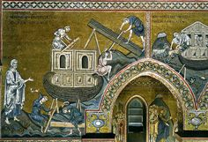 Building of Noah's Ark – Mosaic on the south side of the nave – Cathedral of Monreale, Sicily (1180′s)