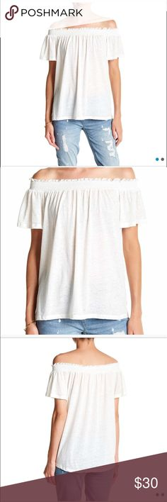 Seven7 Off the Shoulder Burnout Blouse Color: Off White-Egert  Size M Fits true to size Seven7 Tops