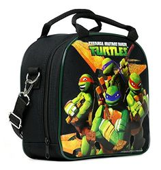 TMNT Ninja Turtles Lunch Box Carry Bag with Shoulder Strap and Water Bottle BLACK *** Learn more by visiting the image link.-It is an affiliate link to Amazon.