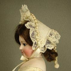"""Vintage Cotton Lace Hat for 16 - 18"""" inch French Fashion Lady Doll No.295 made by Carol H. Straus #silkandtrim"""