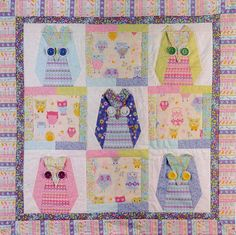 Owl patchwork quilt  for children - KIT with pattern and fabric