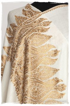 The Sophistiqué Ivoire Grâce Paisley Shawl — Seasons by The Kashmir Company Gold Embroidery, Crewel Embroidery, Embroidery Designs, Kashmiri Suits, Kashmiri Shawls, Bridal Shawl, Pashmina Shawl, Ivoire, Paisley Pattern